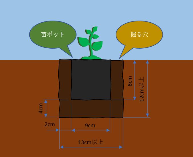 掘る穴のサイズ
